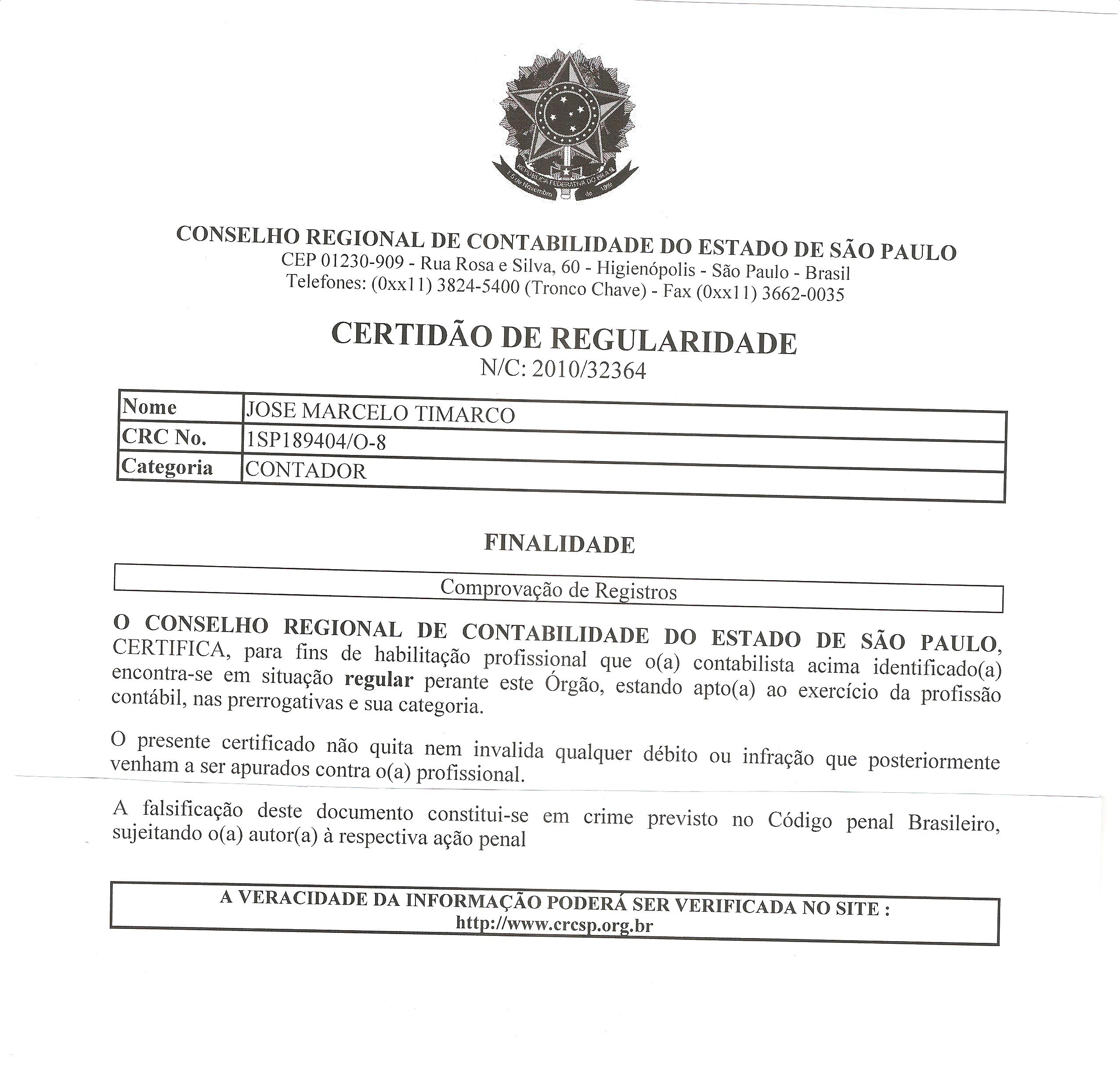 Credenciado para Comprovação de Registros