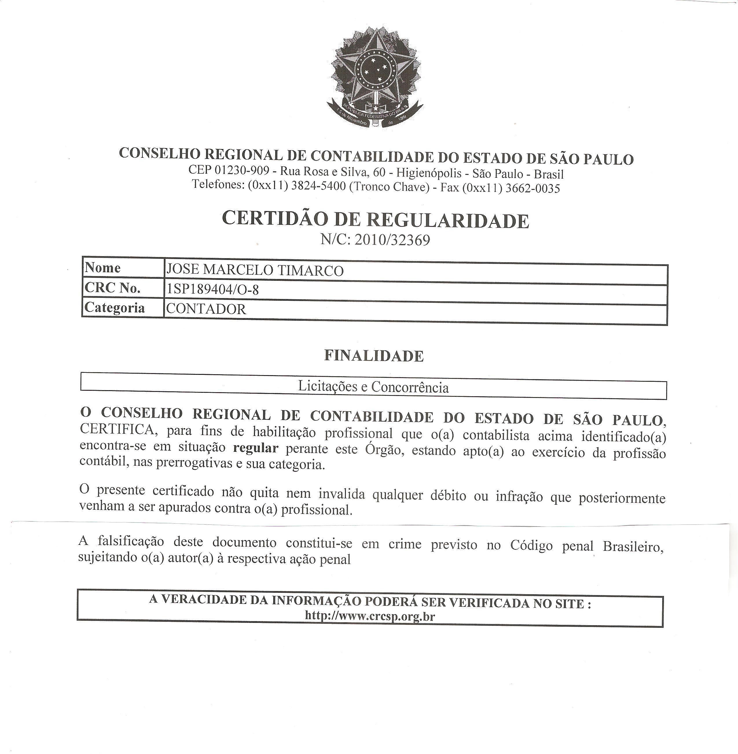 Credenciado para Licitações e Concorrências